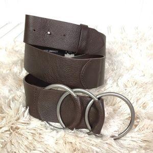 J Jill Brown Leather 3 Ring Adjustable Belt Medium